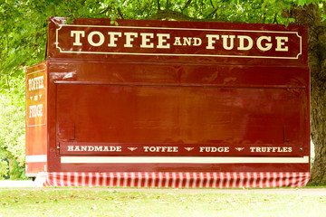 Toffee and Fudge stall waiting to open