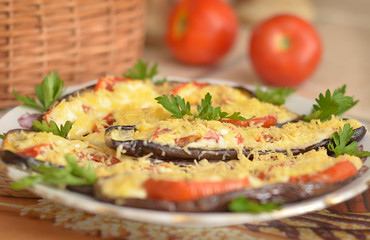 Eggplants with parsley and tomatoes