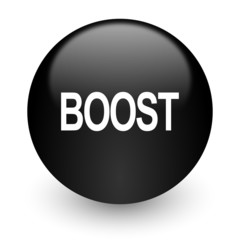 boost black glossy internet icon