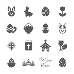 Easter icons set.