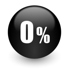 0 percent black glossy internet icon