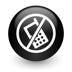 no phone black glossy internet icon
