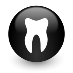 tooth black glossy internet icon