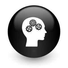 head black glossy internet icon