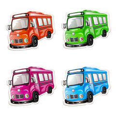 Bus icon set. Color car collection.