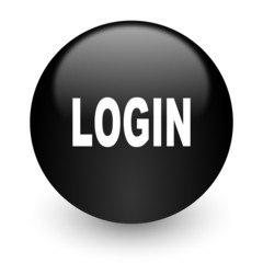 login black glossy internet icon