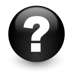 question mark black glossy internet icon