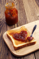Toast bread with jam