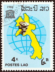 Laos map, earth station and UNESCO emblem (Laos 1986)