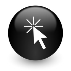 click here black glossy internet icon