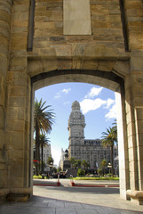 Palacio Salvo from Old city gate, Montevideo