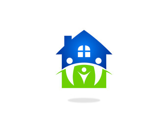 clean-house-family-vector-logo