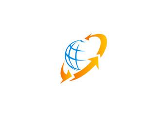 globe and arrow in circle vector logo