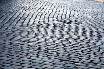 cobblestone street pavement pattern closeup