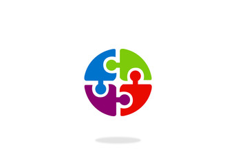 people puzzle in circle vector logo