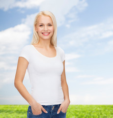 smiling woman in blank white t-shirt
