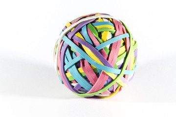 Colored rubber elastic band ball. Macro.