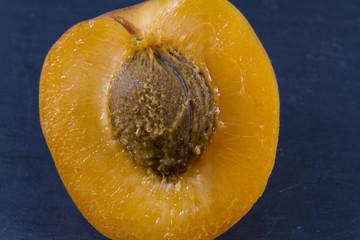 Apricot, sun sweet, prunus, halved, macro.