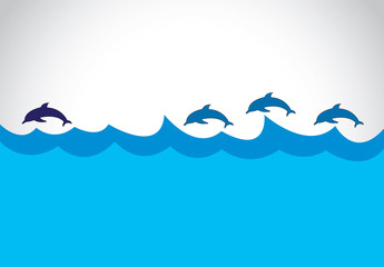 young blue dolphin lead a group of dolphins - leadership concept
