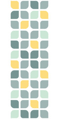 Abstract gray yellow rounded squares vertical seamless pattern