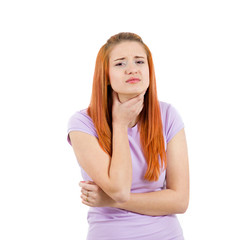 Sad girl, woman with sore throat pain, on white background
