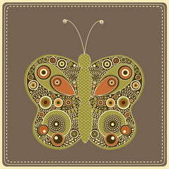 Greeting card with colorful stylized  butterfly