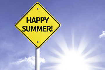 Happy Summer road sign with sun background