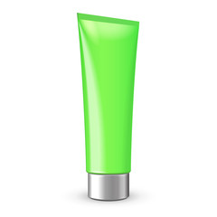 Tube Of Cream Or Gel Green Clean With Gray Silver Chrome Lid