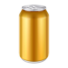Yellow Orange Gold Bronze Metal Aluminum Beverage Drink Can