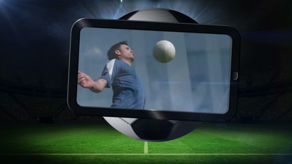 Football montage showing player kicking ball