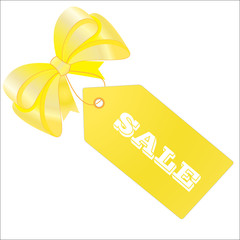 Yellow sale tag, label