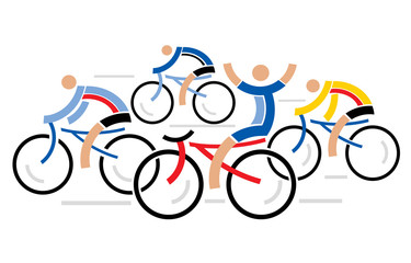 Four racing cyclists