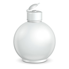 Opened Cosmetic Or Hygiene Grayscale White Round Plastic Bottle