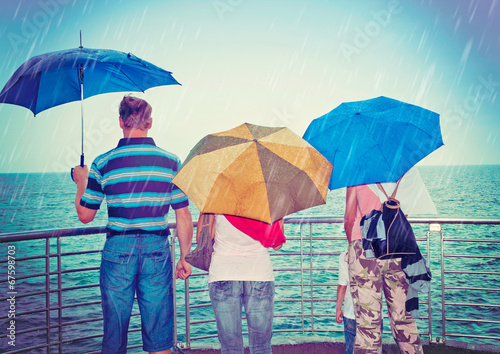 canvas print picture rain on the beach