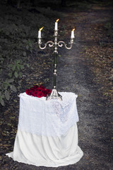 silver candlestick on a white table with a red roses in a forest