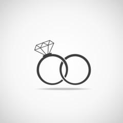 Wedding rings vector icon. Wedding invitation.