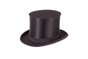 Black silk hat on a white background