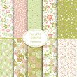 Set of 10 seamless floral and hearts background