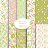 Fototapety Set of 10 seamless floral and hearts background