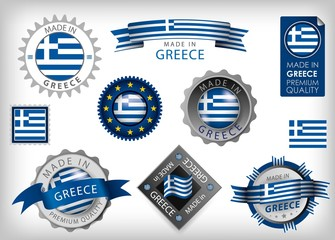 Made in Greece, Greek Flag and Selas (vector Art)