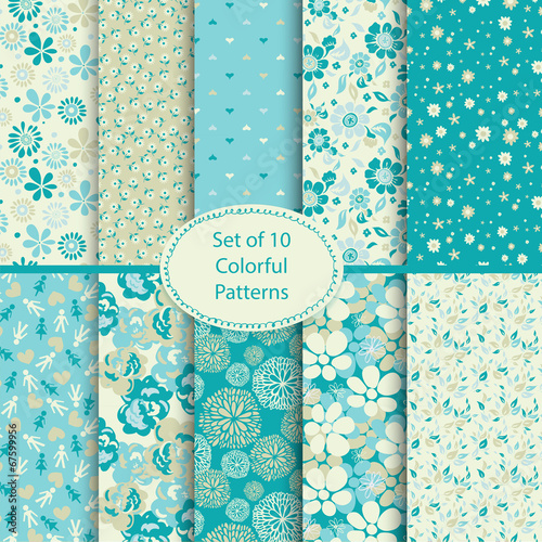 Fototapeta Set of 10 seamless floral and hearts background