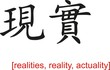Chinese Sign for realities, reality, actuality