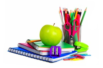 Collection of colorful school supplies