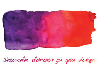 Vector watercolor gradient stripe. Watercolor wet stains