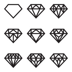Symbol of diamond, vector set