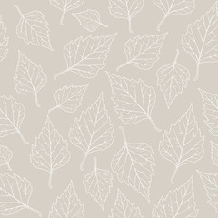 Leaf background, seamless pattern, linden, pastel color