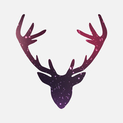 Head of deer, nebula and galaxy background