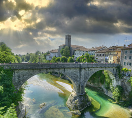 Natisone River and Devil's Bridge, town Cividale del Friuli