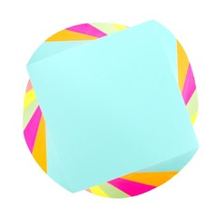 Top down view of a twirled note pad of sticky notes
