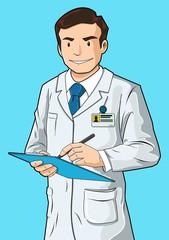 Doctor con tabla de escritura